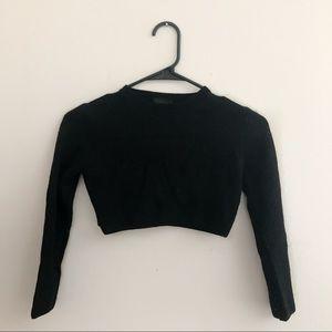 Topshop Black Long Sleeve Crop